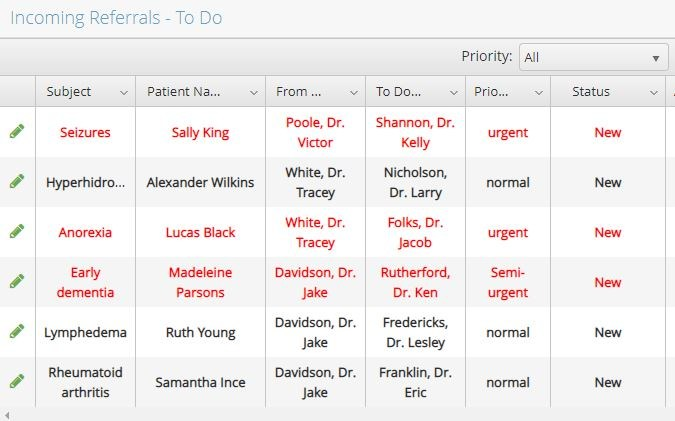 Screen shot of the EZ Referral to do list with certain referrals in priority red