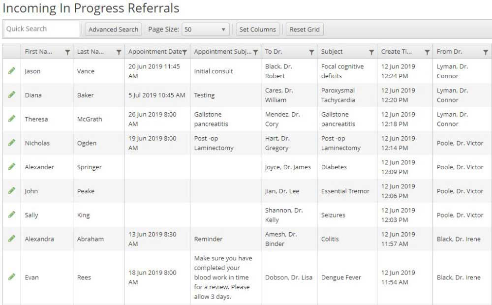 Screen shot of the EZ Referral dashboard
