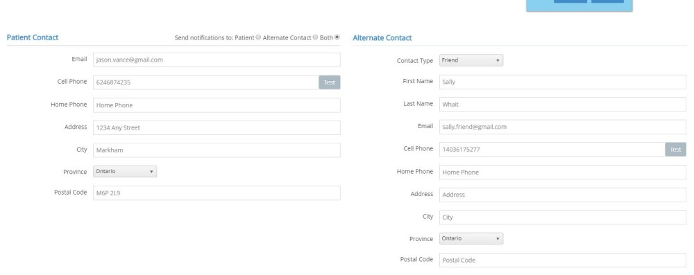Screen shot of the patient notification configuration panel in EZ Referral