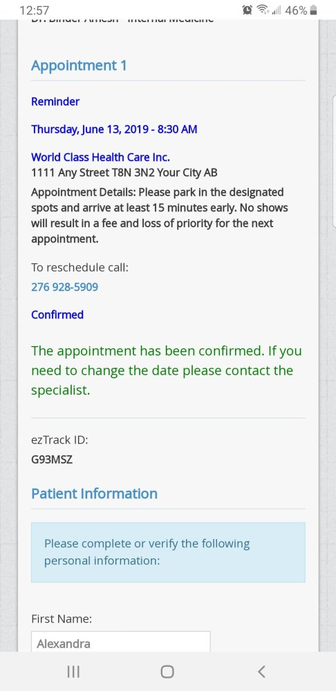 Screen shot of appointment details on mobile phone