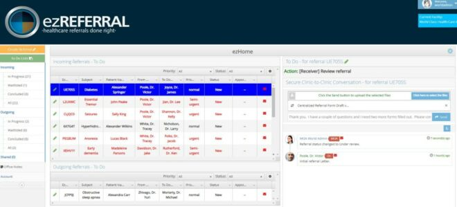 Screen shot of referral to do list and messaging