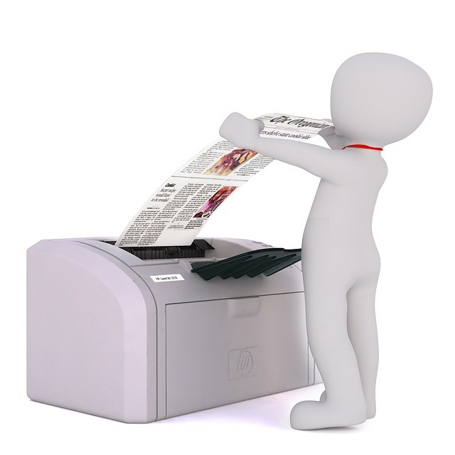 Character putting paper in fax machine