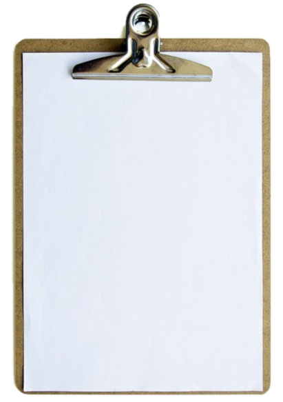 Clipboard with blank paper PNG